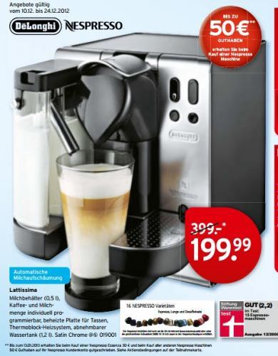 DeLonghi Nespresso EN680M Lattissima für 199€ + 50€ Nespresso-Guthaben @ Karstadt