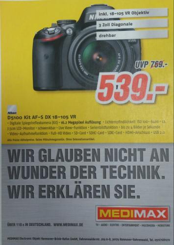 [Lokal Hannover] - Nikon D5100 Kit 18-105 mm