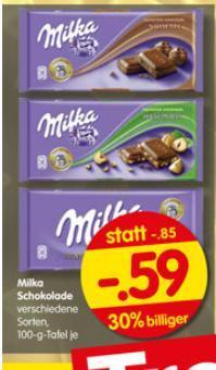 [lokal] Milka Schokolade 100g für 0,59€ @Treff 3000