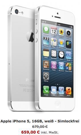 Apple iPhone 5, 16GB, weiß - Simlockfrei