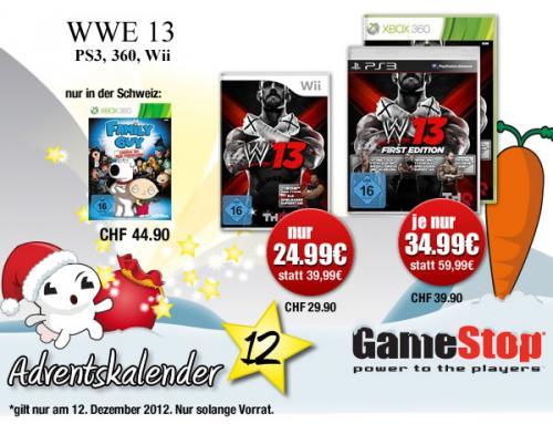 [GameStop Adventskalender] WWE 13 (PS3 & XBox 360) für 34,99€ und Wii Version für 24,99€