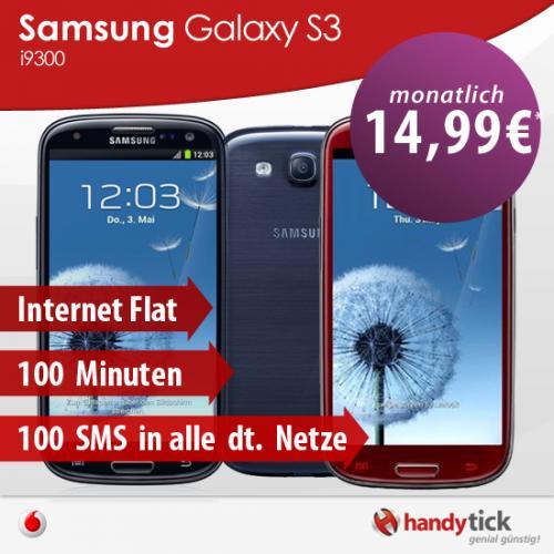 Samsung i9300 Galaxy S3 + Vodafon Basic 100 Spezial SIM Vertrag für 14,99€ mtl