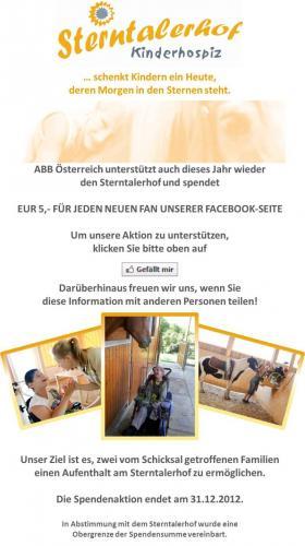 ABB spendet 5€ für jeden neuen Facebook-Fan an das Kinderhospiz Sterntalerhof