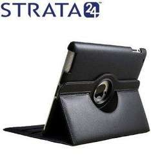 STRATA24© Premium iPad 2 / iPad 3 / iPad 4 Leder Case Schutzhülle Schwarz 360 Grad drehbaren Gehäuse + Kostenlose Stylus ***VERSANDKOSTENFREI***@amazon