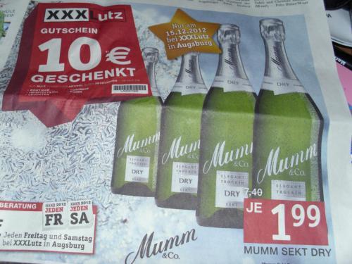 Mumm Sekt Dry 0,75l Flasche am Samstag bei XXXLutz Augsburg