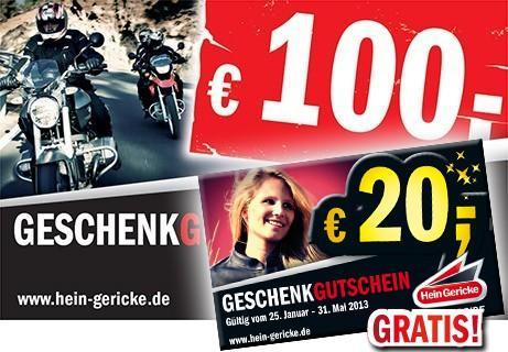 [online] Hein Gericke erhöht eure Gutscheincard 50€ + 10€ und 100€  +20€