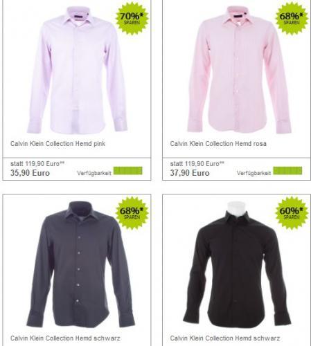 Calvin Klein Hemden für 35-40€ (+4-15% Cashback bei qipu)