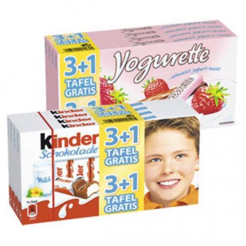 [Netto] Kinderschokolade und Yogurette 3+1,  4x100g