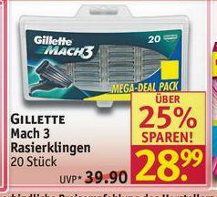 [Rossmann] 20 x Gillette Mach 3 Rasierklingen (1,44€ pro Klinge)