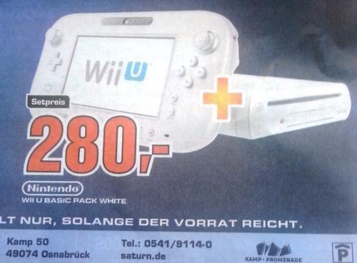 [Osnabrück Saturn] Wii U Basic Pack white für 280 Euro