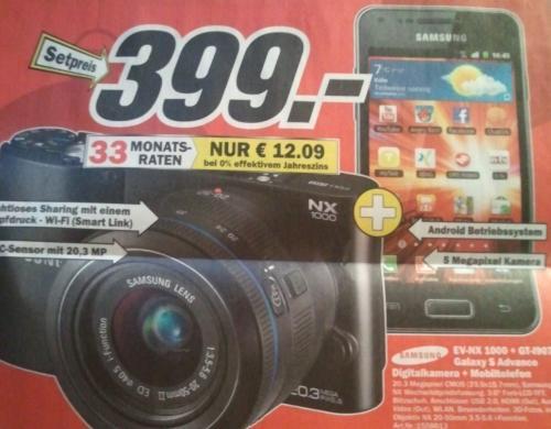Samsung NX 1000 im Set mit Samsung GT-I9070 für 399€ @Mediamarkt (lokal?)