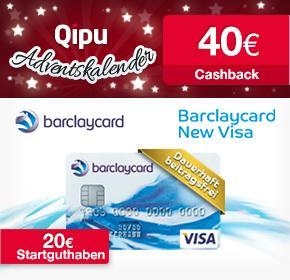 Neukunden: Barclaycard New Visa dauerhaft beitragsfrei und 40€ Cashback + 20€ Startguthaben über qipu (nur heute!)