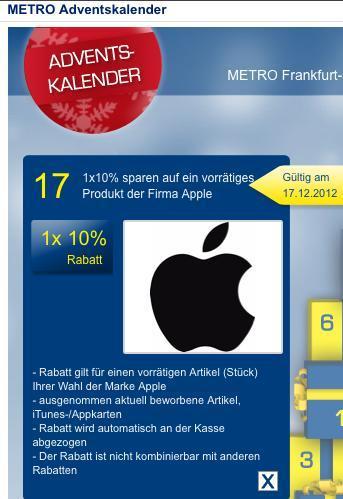 10% sparen auf Apple-Produkt (muß vorrätig sein) @METRO (Kassel + Ffm, evtl bundesweit)