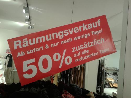 50% zusätzlich Rabatt auf alles reduzierte im Bredl Outlet in Ravensburg (lokal) !!!