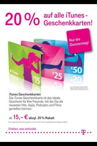 iTunes Karte 20% bei der Telekom