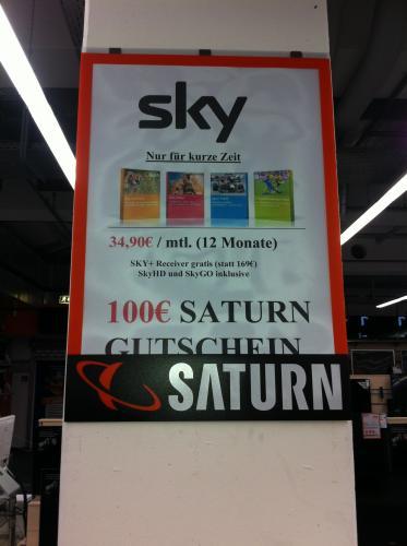 SKY Komplett inkl. HD, SKY+ Receiver und SkyGO  UND 100€ SATURN Gutschein