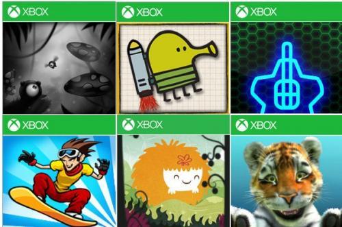 6 Xbox Live Windows Phone Spiele im Neujahresangebot für je 99 Cent: Contre Jour, Doodle Jump,  Mush, geoDefense Swarm, iStunt 2, Kinectimals