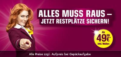 Germanwings Last-Minute Restplätze ab 49,99 € pro Flug bis 6. Januar 2013