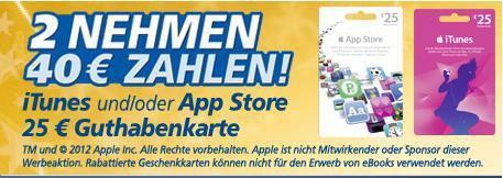 iTunes / App Store 25€ Gutscheinkarte (2 Kaufen 40€ bezahlen) 20% Rabatt bei REAL