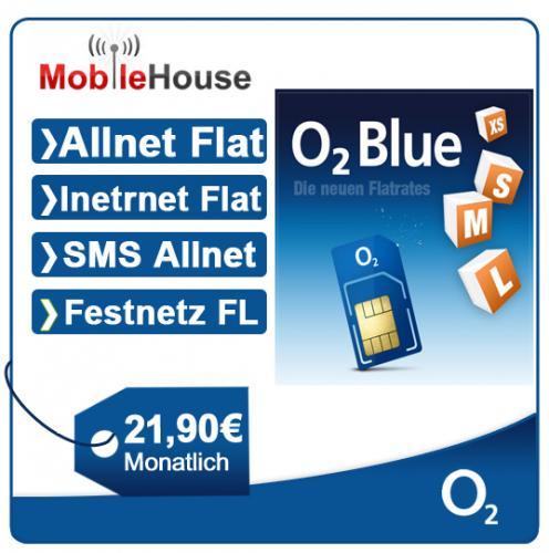 o2 Blue M Flatrate in alle Netze inkl. SMS u. Internetflat / Allnet-Flat 21,90 €