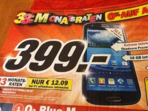 Samsung S3 pebble blue 399€ Media Markt [lokal, Berlin?]