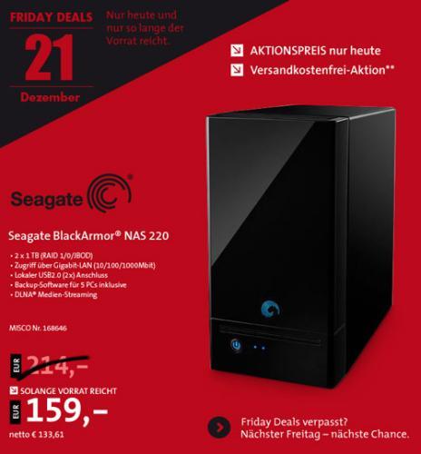 Seagate BlackArmor NAS 220 - NAS-Server - 2 x 1 TB 159 EUR (keine Versandkosten)