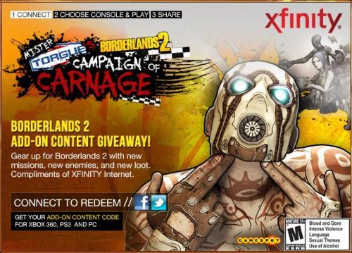 Borderlands 2: Mr. Torgue's Campaign of Carnage für PS3 und Xbox360 kostenlos (Twitter oder Facebook Account vorrausgesetzt)
