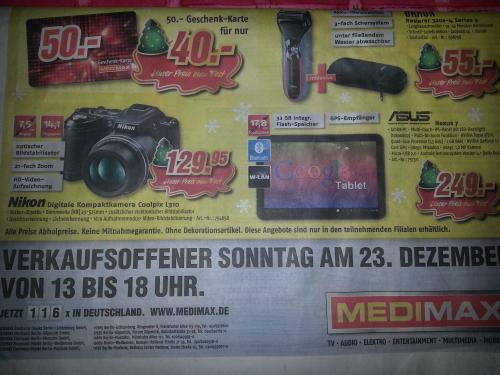 Lokal Berlin MediMax 50 € Geschenk Karte für 40 €