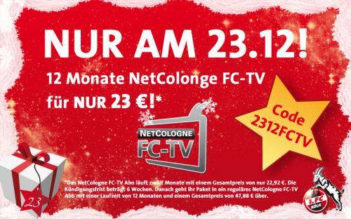 Nur Heute: 12 Monate FC-TV (1. FC Köln) mit Code 52% günstiger