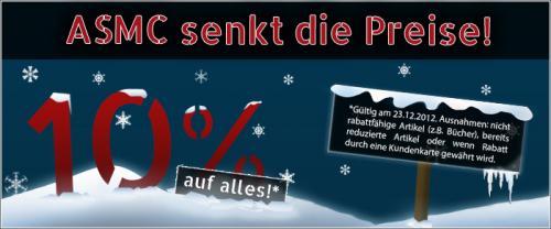Nur heute 10% Rabatt auf alle nicht bereits reduzierten Artikel bei ASMC.de