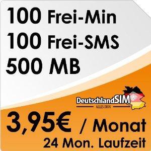 DeutschlandSIM ALL-IN 100 (500MB Daten, 100 Min, 100 SMS, 3,95 Euro/Monat @Amazon.de