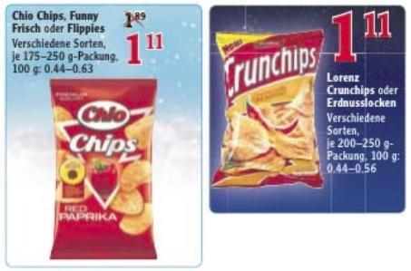 [Lokal] Chio Chips, Funny Frisch, Crunchips, Erdnusslocken oder Flippies - Globus Lahnstein