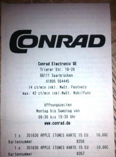 @Conrad Saarbrücken: iTunes Guthaben 15 € für 10 €