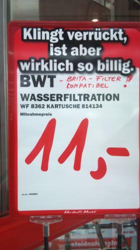 [Lokal Berlin] MediaMarkt BWT Wasserfilter WF 8362 4er Pack für 11,-