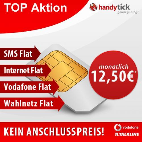 Vodafone 4-Fach-Flat für 12,50€ mtl.