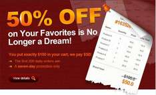 50% Rabatt, wenn man für genau 100$ einkauft @ Dealextreme