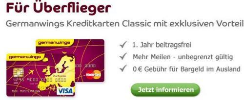 Germanwings Classic Barclaycard (1.Jahr umsonst) + 1 Prämienflug (FwF), alternativ Qipu 30€ möglich