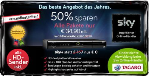 Sky Komplett (alle Pakete & HD & HD Plus & SkyGo) für 34,90€ pro Monat