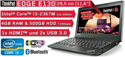 """Lenovo ThinkPad Edge E130 3358AE3 29cm (11.6""""), i3-2367M, 4GB RAM, 500GB 7.200upm HDD, DOS"""