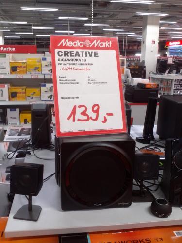 [LOKAL] Dresden, Mediamarkt Elbepark. CREATIVE GIGAWORKS T3 nur 139€! (Idealo ab 189€)