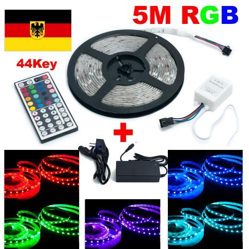 5m RGB 60 LED/m Strip Leiste Streifen 5050 SMD 44 Key Fernbedienung+12v Netzteil (60 LED/m Strip)
