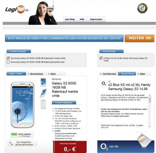 Samsung Galaxy SIII für effektive 390,00 EUR (ohne Versandkosten, da sie von der Bezahlart abhängen)