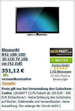 Blaupunkt B42-188-100- 3D LCD TV 106 cm (42 Zoll) @MP