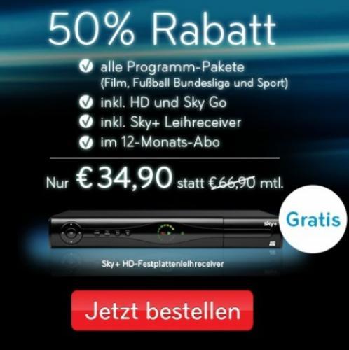 Sky Komplett Film, Sport, Buli, HD, sky Go (SAT: Welt Extra und HD+) für 34,90 Euro/Mon.