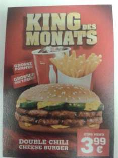 [King des Monats]Double Chili Cheese Burger + große Pommes + großer Softdrink für 3,99€ - ab 04.01.  bei Burger King®