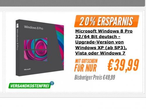 Windows 8 Upgrade DVD incl. Porto für 39,99€