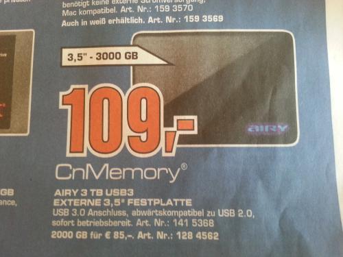 CnMemory 3TB 3,5 Zoll mit USB 3.0 bei Saturn
