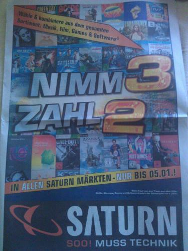 [Offline Saturn Bundesweit] Ab 02.01. nimm 3 Zahl 2 (Musik, Film, Games und Software)