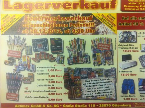 [Lokal : Bremen / Ottersberg] Profi - Feuerwerk mit Sonderverkauf