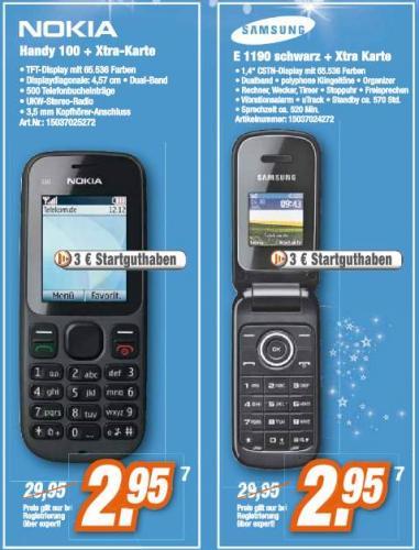 2,95 € für Nokia Handy 100 / Samsung E1190 mit 3,- € Startguthaben im Xtra Nonstop Plus Tarif